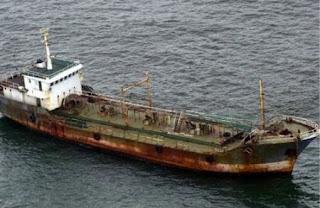 Imagem do Jian Seng quando encontrado pela marinha Australiana