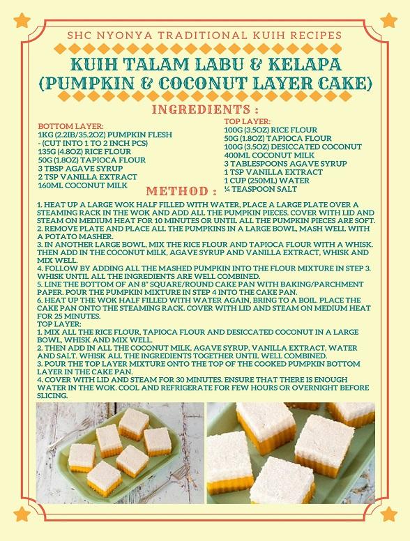 KUIH TALAM LABU & KELAPA (PUMPKIN & COCONUT LAYER CAKE) RECIPE