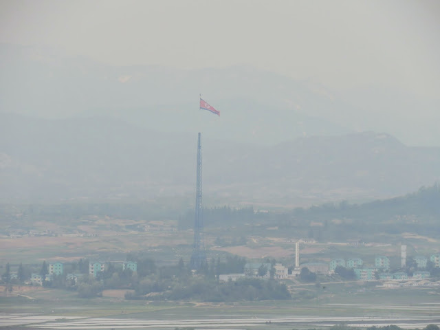 North Korean flag viewed from Odusan Unification Observatory in the DMZ in South Korea