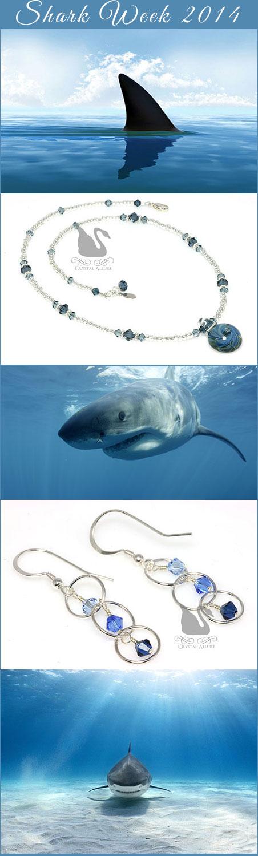 Blue Artisan Lampwork Crystal Necklace (N124-B) and Deep Blue Circle Crystal Beaded Earrings (E261)
