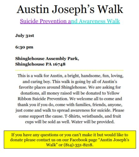 7-31 Suicide Prevention And Awareness Walk