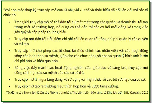 'Tác động của Truy cập Mở lên các Phòng trưng bày, Thư viện, Viện bảo tàng, và Kho lưu trữ' - bản dịch sang tiếng Việt