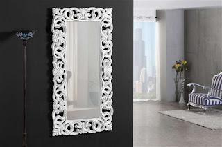 espejo recibidor blanco tallado clasico