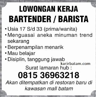 Lowongan Kerja Bartender/Barista