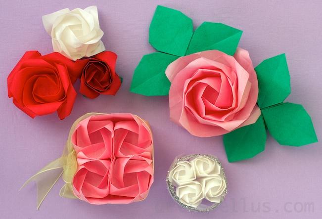 Kawasaki origami rose with leaf and stem Stock Photo - Alamy   443x651