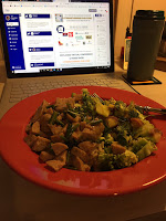Lunch in front of a laptop computer