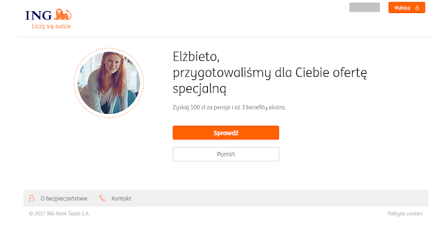 Zaproszenie do promocji 100 zł za pensje w ING Banku Śląskim