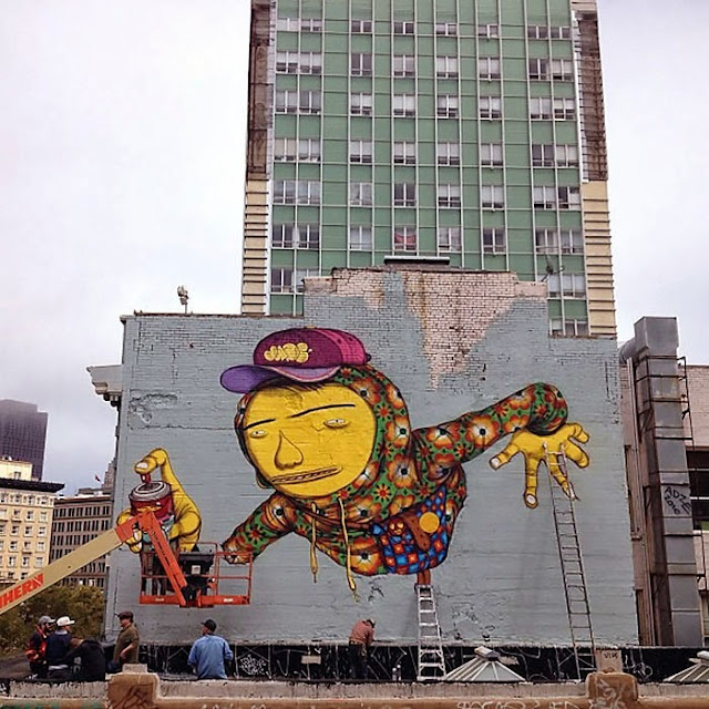 Street Art By Brazilian Duo Os Gemeos On The Streets Of San Francisco, USA. 1