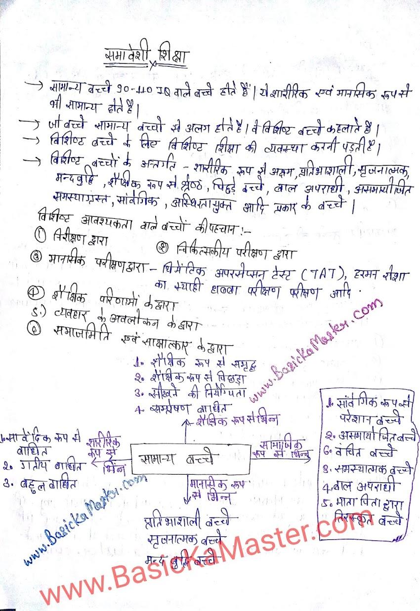 शिक्षण कौशल hand written notes - 11 (समावेशी शिक्षा- 1)