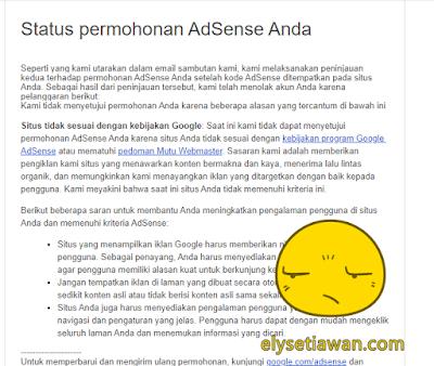 penolakan google adsense blog mas ely