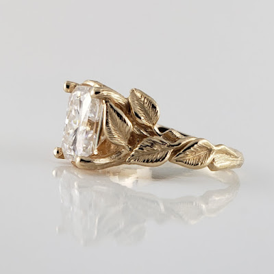Leaf and Twig Engagement Ring