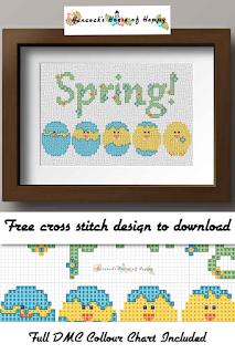 chicken cross stitch pattern, hatching chick cross stitch pattern, spring chicken cross stitch pattern