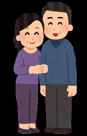 仲良く腕を組む夫婦のイラスト(中年)