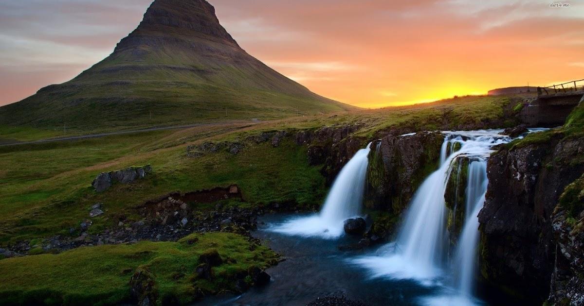 Gambar Pemandangan Air Terjun Dan Gunung - Gambar Pemandangan