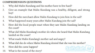Jawaban Comprehension Question The Legend Of Malin Kundang Hal 173