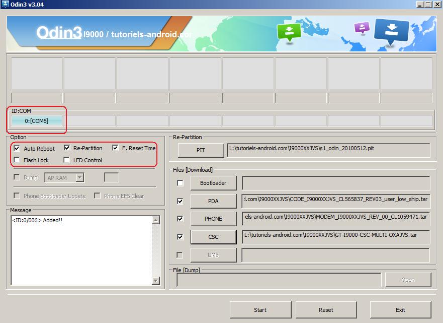 ODIN : installer firmware I9000