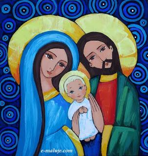 Kolorowa Święta Rodzina … Ikona Autorska na Opiekę i Miłość … na Święta i Całe Życie