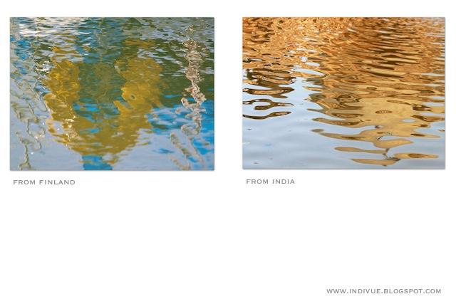 Suomalainen ja intialainen heijastus vedessä