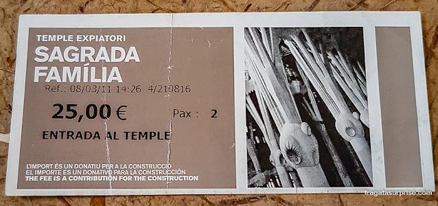 Ingresso para a Sagrada Família, Barcelona