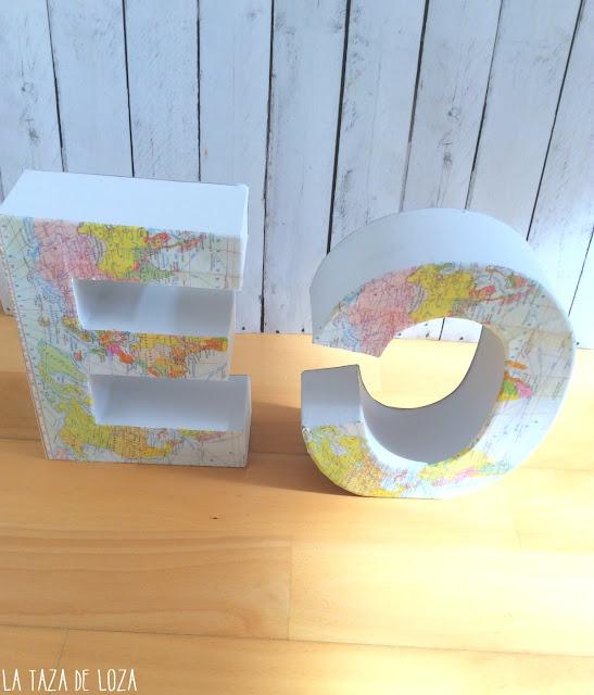 letras-de-cartón-decoradas-con-mapas