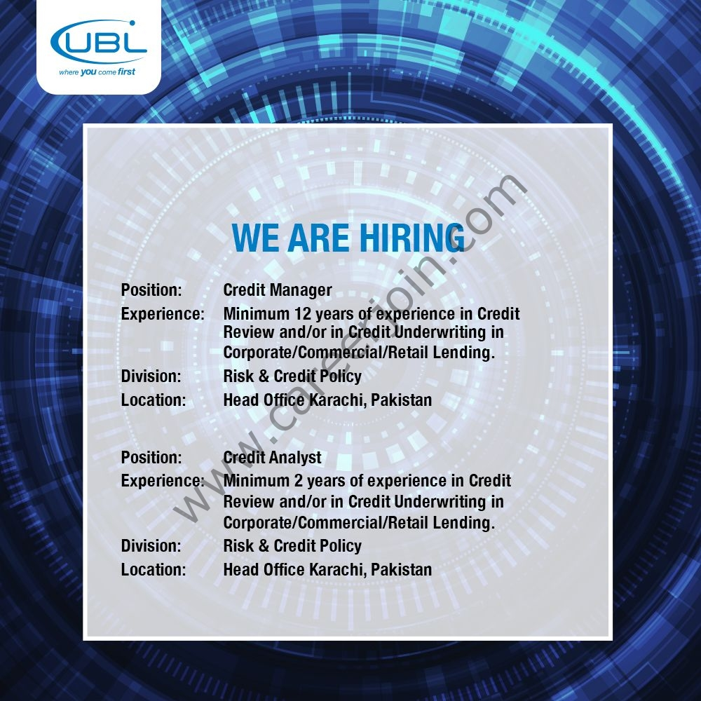 United Bank Limited UBL Jobs August 2021