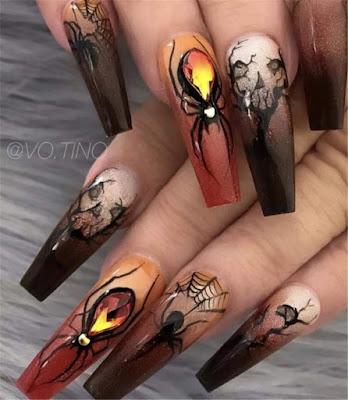 unas halloween arañas