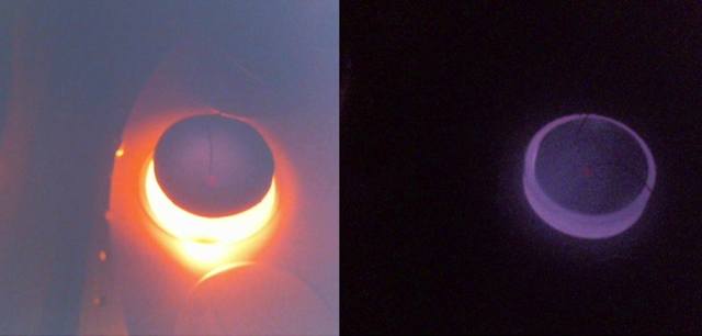 Comparison of a view inside the Venus chamber at a target temperature of 480 degrees Celsius. The image on the left shows the glow of the stainless steel cup necessary for the induction heating illuminating the whole chamber. The right image shows how the newly developed ceramic enclosures suppress the background radiation to obtain a good signal from the samples. Photo Credit: J. Helbert/DLR/Europlanet