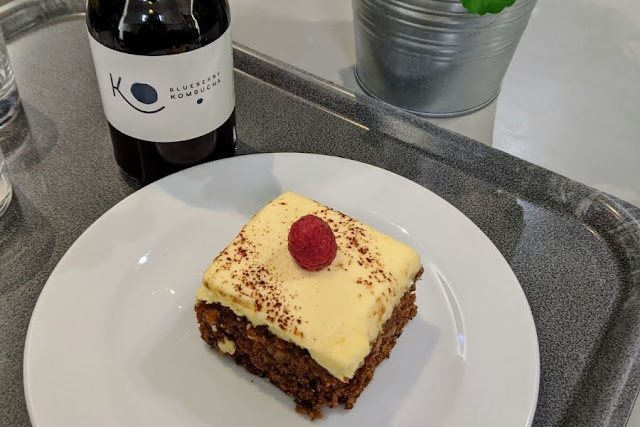 Carrot cake and Kombucha at IMMA Cafe in Dublin