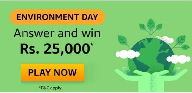 Amazon Environment Day Quiz Answer - Rs 25,000. Amazon Quiz Answer Today, Amazon Environment Day Quiz Answer. Amazon Environment Day Quiz Answer