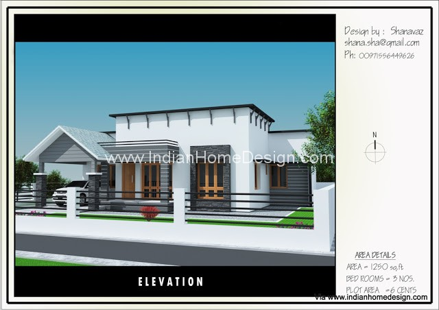 Single Floor Simple Front Elevation : Single floor house plan elevation design for sq ft
