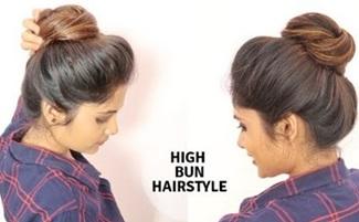 1 Min High Messy Bun hairstyle For Medium to Long Hair