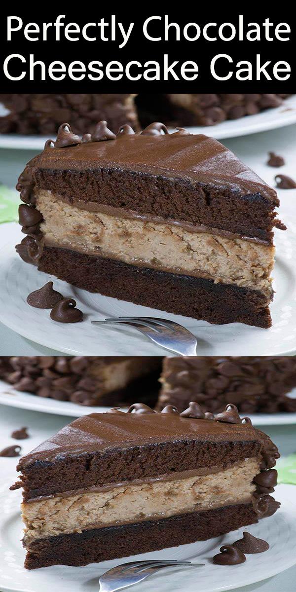 Perfectly Chocolate Cheesecake Cake #Perfectly #Chocolate #Cheesecake #Cake #PerfectlyChocolateCheesecakeCake