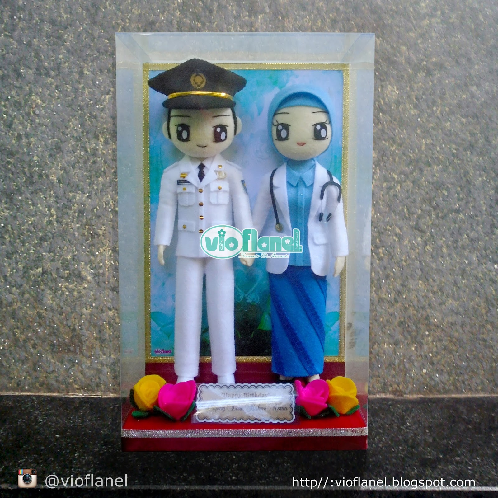 Vio Flanel 244 Boneka Flanel TNI AL Dan Dokter MNaufal