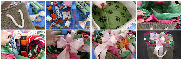 Making a DIY dog gift basket full of toys, treats, and dog supplies