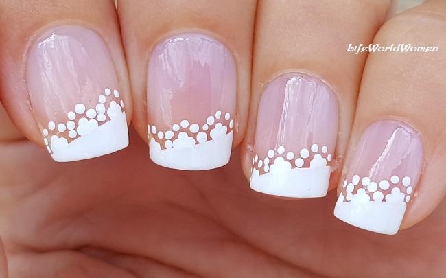 Life World Women Easy Wedding Nails White Side Lace French Manicure