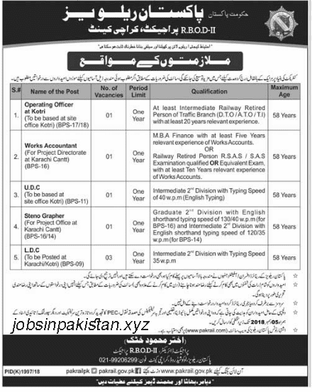 Advertisement for Pakistan Railway Karachi Jobs 2018