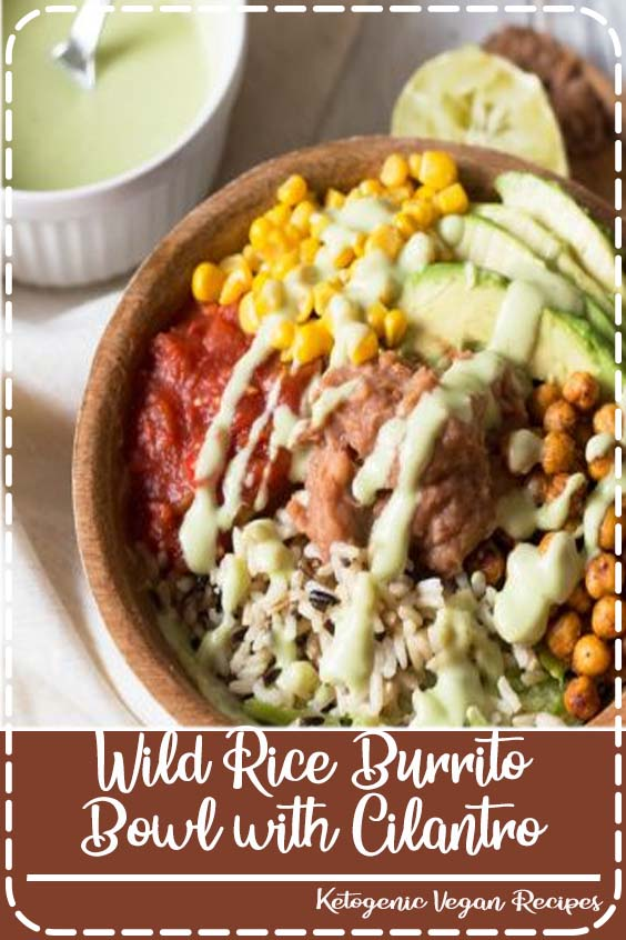 This wild rice burrito bowl is simple to throw together and easily customizable. Plus, the creamy cilantro-lime avocado dressing adds the perfect touch.