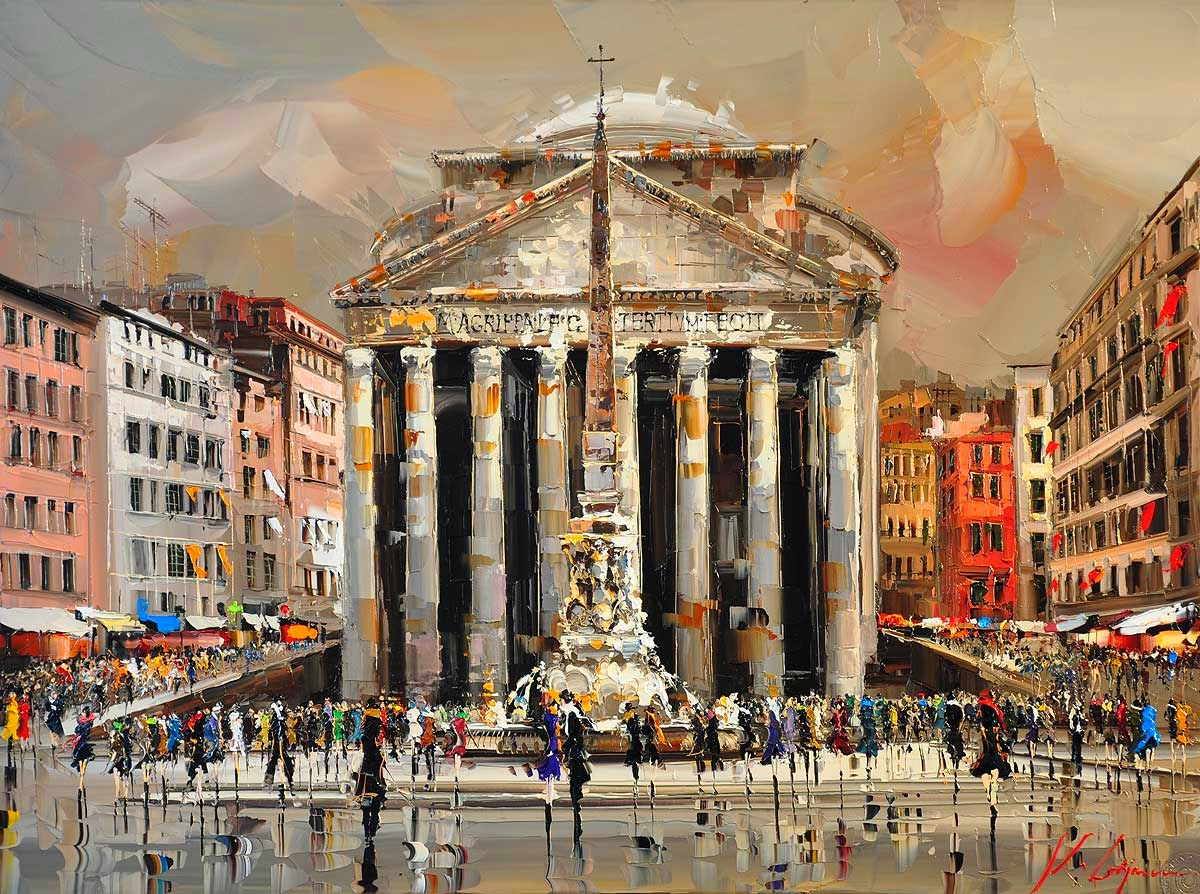 22-Piazza-della-Rotonda-Roma-Kal-Gajoum-Paintings-of-Dream-Like Cities-of-the-World-www-designstack-co