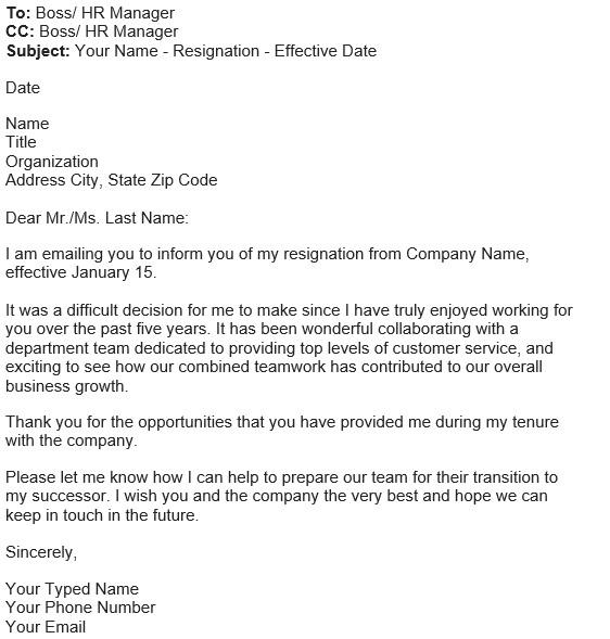 contoh email pengunduran diri bahasa inggris