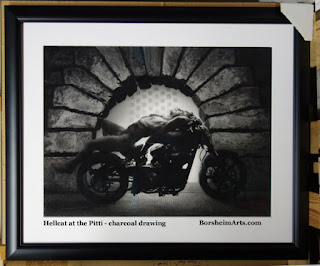Hellcat motorcycle with nude male model in front of the Pitti Palace stone arch charcaol drawing original art