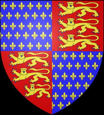 Blason anglais, léopards dorés sur fond rouge et bleu roi fleurdelisé
