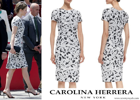 Queen Letizia wore Carolina Herrera Parrot Tulip Fil Coupe Sheath Dress