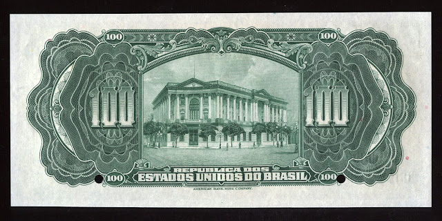 Banknotes Money currency from Brazil - 100 MilReis Cruzados Cruzeiros Reais