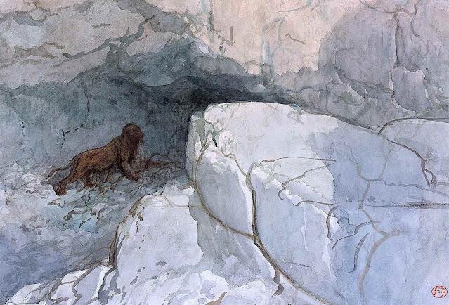 Gustave Doré color, a lion entering it's rock den