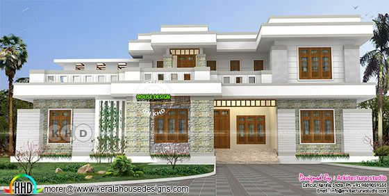 4 BHK decorative style flat roof 3500 sq-ft home
