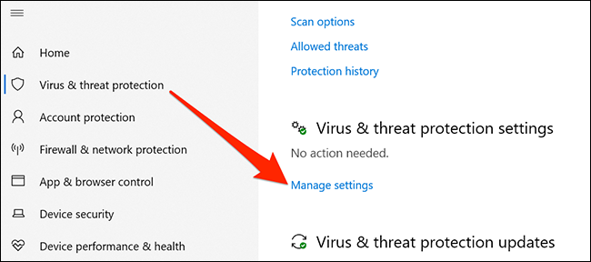 إعدادات الحماية من الفيروسات والمخاطر