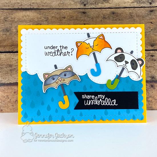 Under the Weather Card by Jennifer Jackson | Umbrella Pals Stamp Set, Umbrella Pals Die Set, Raindrops Stencil, Sky Borders Die Set and Frames & Flags Die Set by Newton's Nook Designs #newtonsnook #handmade