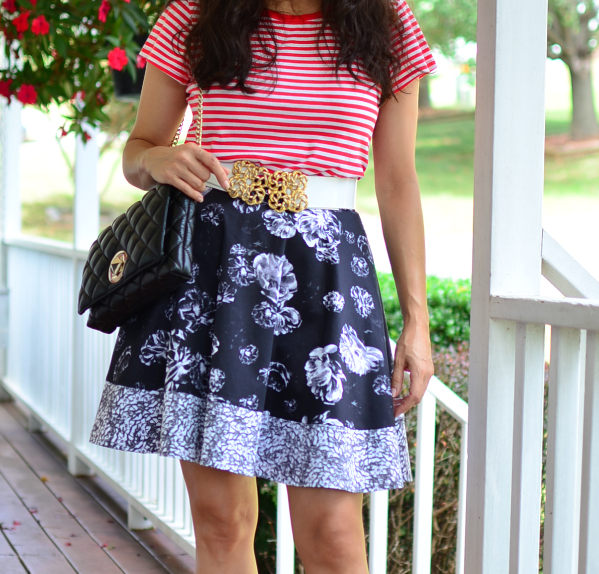 How to wear florals with stripes