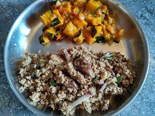 Kodo millet Brinjal rice, Pumpkin curry