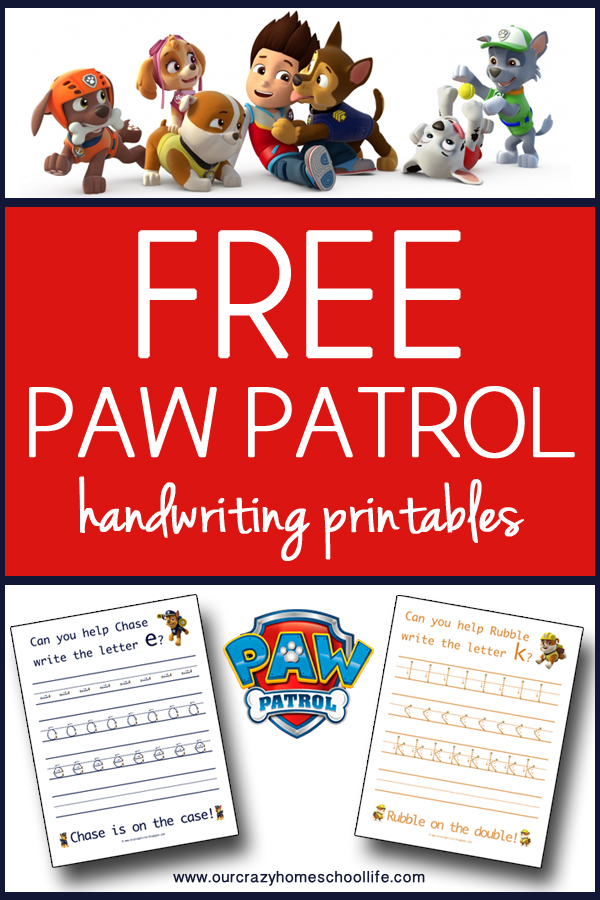 Our Crazy Homeschool Life Free Printable Paw Patrol Handwriting